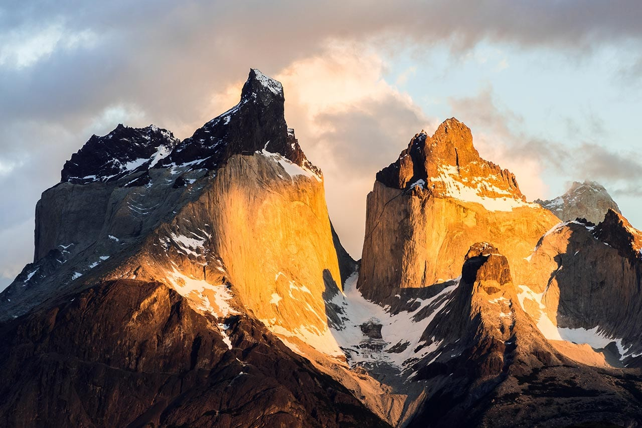 Berge, Sonnenuntergang, Torres del Paine National Park, Chile
